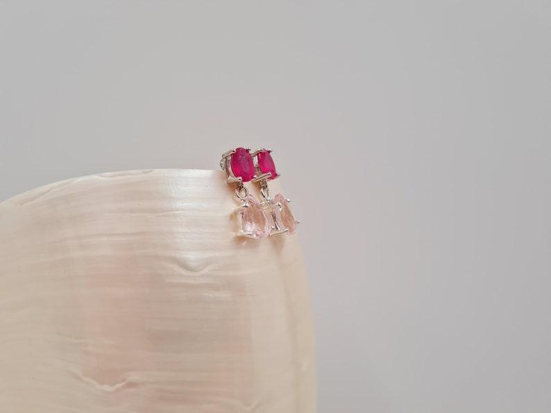 Ruby Morganite Stud Drop Earrings Sterling Silver