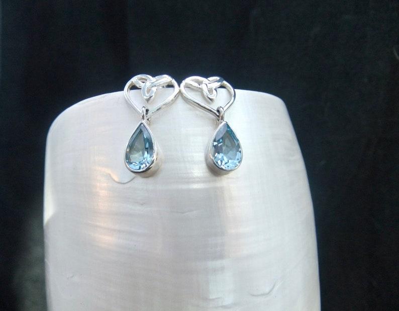 Blue Topaz Gemstones Studded Drop Earrings Sterling Silver Celtic Heart