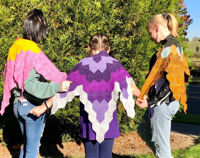 Featured listing image: Flower Shawl - Three Designs Woven on an Elongated Hexagon Pin Loom