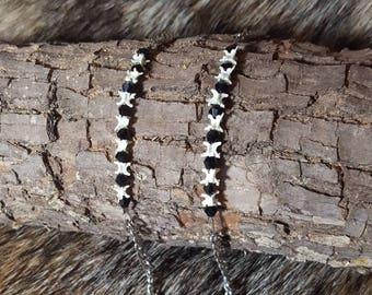 Rattlesnake Vertebrae Bone and Black Crystal Silver Chain Bracelet