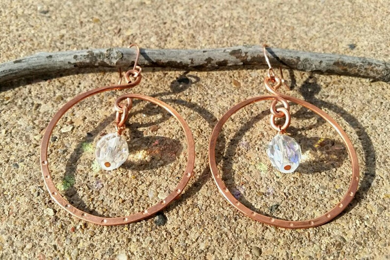 Hammered Dimple Copper Hoops Irridescent Crystals