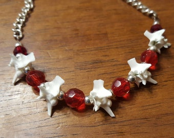 Rattlesnake Vertebrae Bone Necklace with Red and Silver Accent Taxidermy