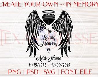 SVG In Memory Angel Wings Heart Halo | Create Your Own In Loving Memory | Editable | Customize | Memorial Digital File