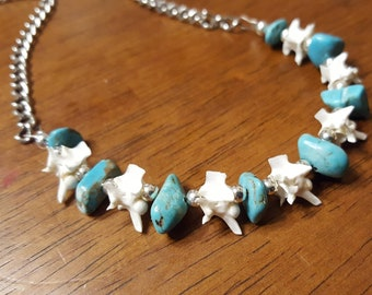 Rattlesnake Vertebrae Bone Necklace with Turquoise and Silver Accent Taxidermy