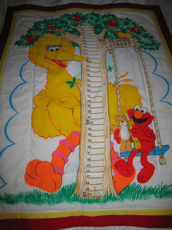 Sesame Street Quilted Comforter Blanket Or Growth Chart Wall Etsy