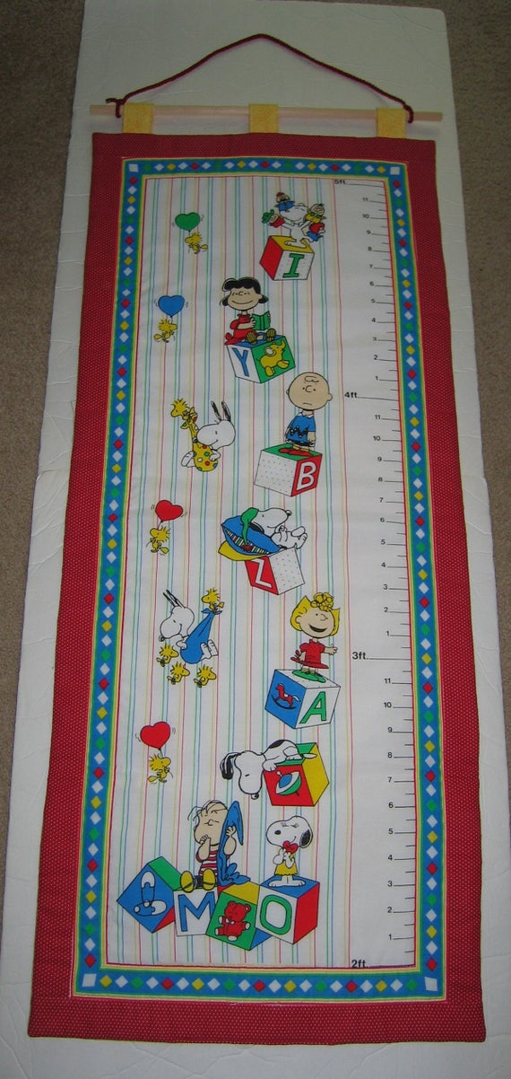 Fabric Growth Chart Quilted Snoopy And The Peanuts Gang Etsy