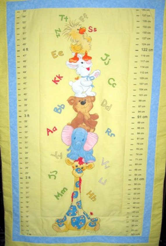 Fabric Growth Chart Quilted Suzys Zoo Witzy Lulla Etsy