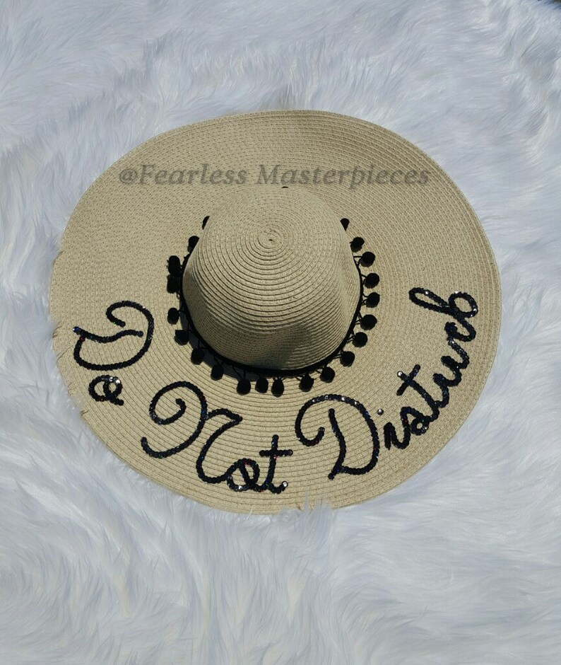 655f302b Custom Sequins do not disturb Sun Floppy Beach Hat | Etsy