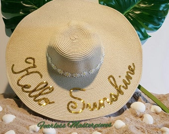 "Custom Sequins ""Hello Sunshine"" Floppy Sun Beach Hat"