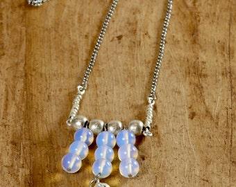 Silver opalite bead pendant necklace