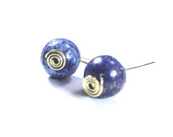 Lapis lazuli blue bead ball spiral wire drop earrings