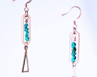 Turquoise beaded acrylic hoop copper drop dangle earrings