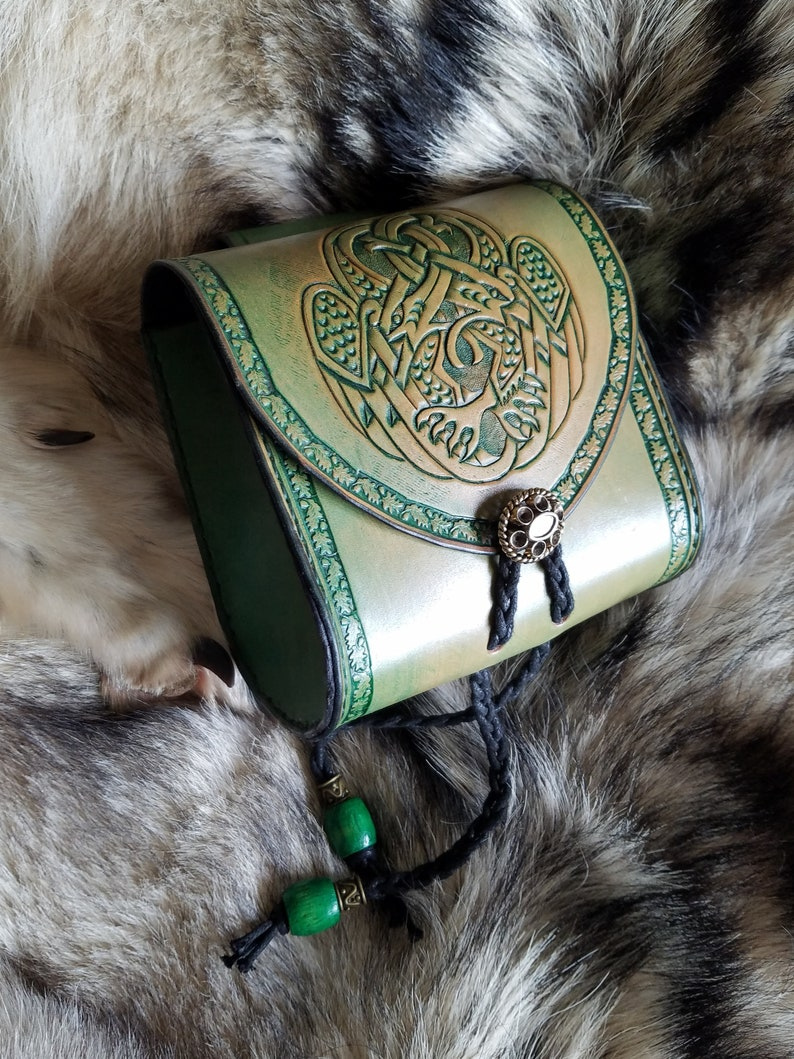 Leather pouch with entwined Celtic birds made to order