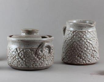 Ceramic Cream & Sugar Set - ceramic creamer set - Rustic modern - unique gift ideas - Dark Stoneware - Home Accent - Stamp Texture