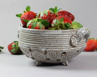 Ceramic Berry Bowl - Small Colander - Serving Bowl - Dark Stoneware