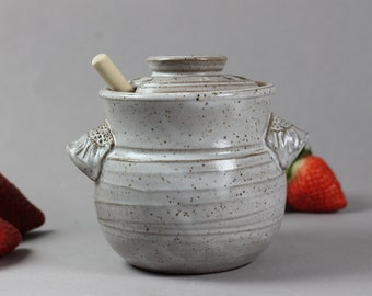 Ceramic Honey Pot - Honey Jar - Dark Stoneware - White Glaze - Thrown