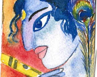 Flute, Watercolor, Krishna, Hindu Mythology, Geeta, Original Painting, OOAK, ACEO15