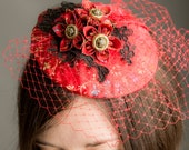 Red Fascinator - red & black fascinator, alternative wedding, vegan wedding, vintage wedding, bridesmaid