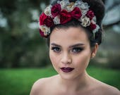 Gothic Flower Crown, gothic headdress, gothic headpiece, gothic bride, red flower crown, autumn wedding, fall wedding, boho flower crown