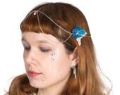 Cybele - flower head chain, headchain, hair jewelry, boho head chain, bridesmaid hair, bridal hair, silver head chain, pearl head chain