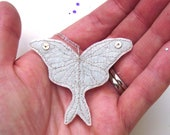 Luna Moth Pendant - luna moth necklace, luna moth, moon moth, embroidered pendant, wedding jewellery, bridal jewelry, bridesmaid necklace