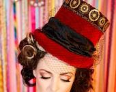 Red Top Hat - steampunk top hat, circus wedding, gothic wedding, steampunk wedding, burning man, red hat, boho wedding, festival wedding