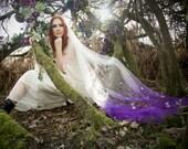 Olwen - ombre veil, bridal veil, chapel veil, cathedral veil, floral veil, applique veil, white flowers, veil wedding, wedding veil