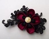 Black & Red Kanzashi Flower Hair Clip, gothic hair clip, kanzashi flower, christmas gift, bridesmaid hair clip, gothic wedding, black flower