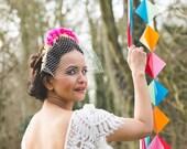 Flower Crown Veil, wedding flower crown, bridal flower crown, birdcage veil, Day of the Dead wedding, alternative wedding veil