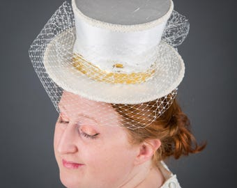 Ivory Silk Top Hat with Veil - mini bridal top hat e44212a72c4