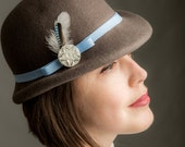 Grey Bowler Hat - handmade bowler hat, vintage bowler hat, jay feather, handmade felt hat, unisex hat, mens bowler hat, womens bowler hat