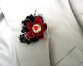 Red & Black Lace Buttonhole - wedding boutonniere, alternative wedding flowers