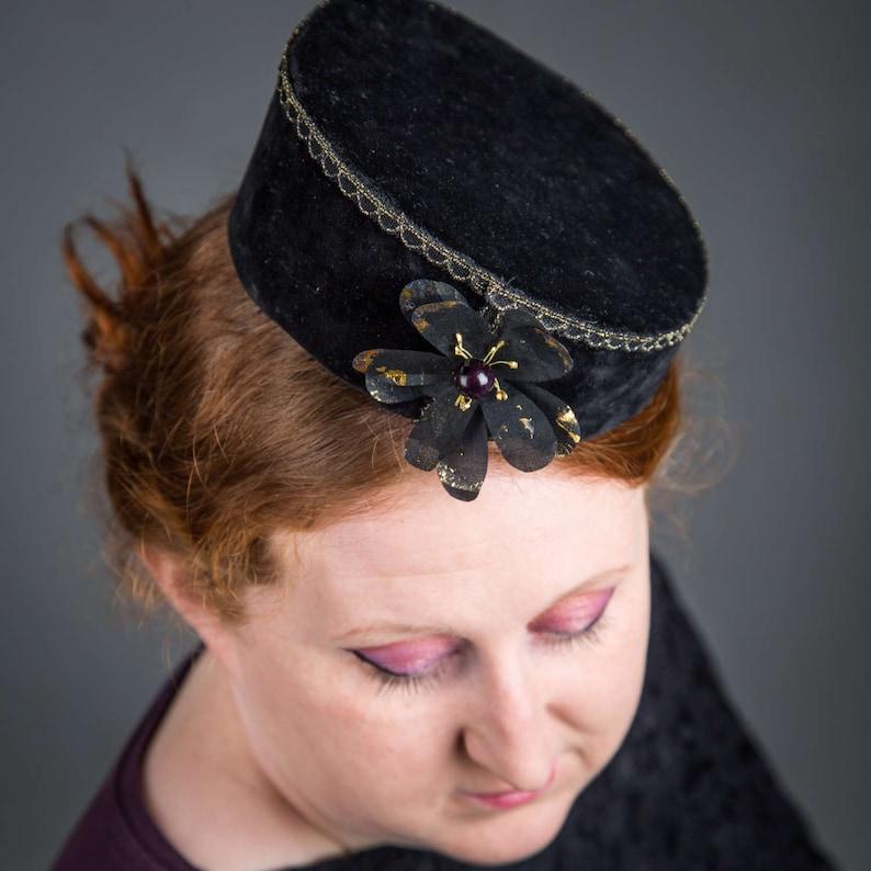 Black Velvet Pillbox Hat black pillbox hat velvet hat  4cccb503b6f