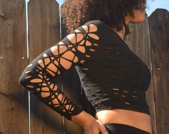 """Sexy Long sleeve braided """"4 The Wild Shirt"""" - Sexy Festival Fashion Top - Slit- Braided- Womens Clothes"""