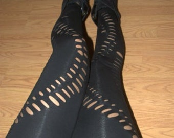 Womens Leggings - Black Shredded Leggings and Tights Cut Out fashion leggings