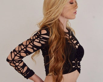 "Long sleeve braided ""Vortex Shirt"" - Sexy Festival Fashion Slit- Braided- Womens Clothes"