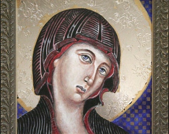 Christmas Mary Painting Russian Icon Byzantine Acrylic Gold and Silver Leaf Framed
