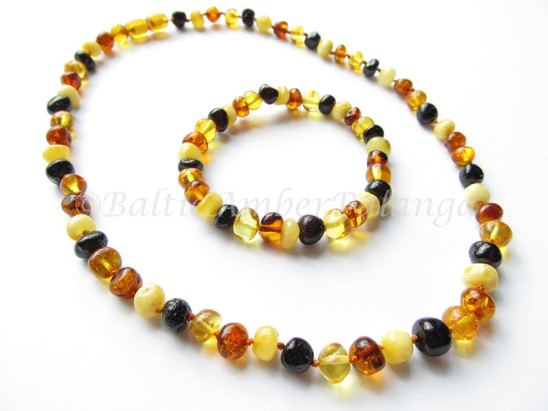 Set Of Multicolor Baltic Amber Necklace and Matching Bracelet