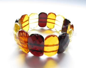 Luxury Baltic Amber Bracelet, Multicolor Faceted