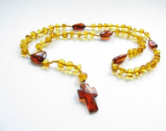 Baltic Amber Rosary, Lemon Color Polished Rounded Beads