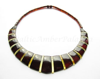 Luxury Baltic Amber Dark Cherry Color Choker CLEOPATRA