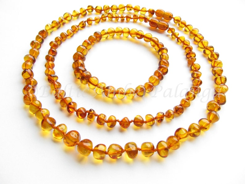 Baltic Amber Baby Teething Set for Baby and Mommy Cognac Color Rounded Beads