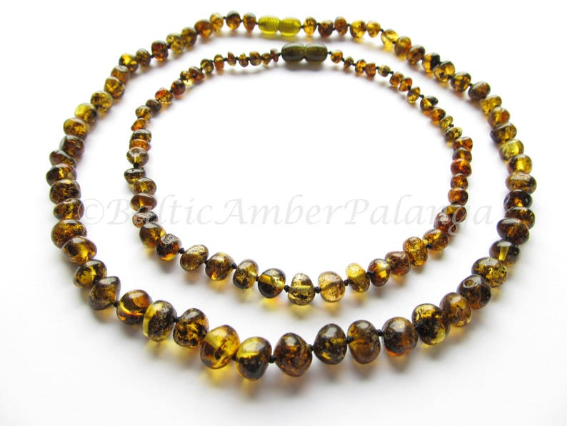 Baltic Amber Teething Set for Baby and Mommy Green Color Rounded Beads