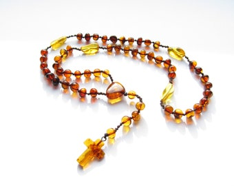 Baltic Amber Rosary,Darker Cognac Color Polished Rounded Beads
