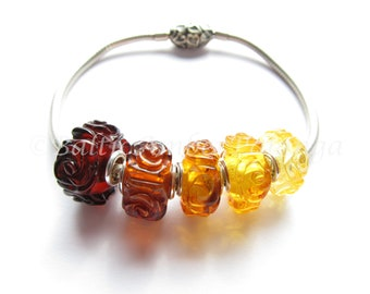Handmade Roses Carved Baltic Amber And Silver Pandora Trollbeads