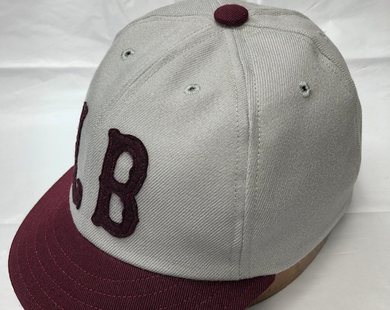 Long Beach Oilers Vintage Base Ball team cap. Light grey acrylic wool serge 6 panel cap, felt Tiffany style letters, Avaliable in any size.