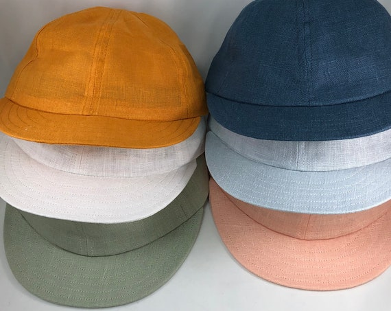 "European Linen 6 panel caps with short 2"" flexible visor. Any size available, select at check out."
