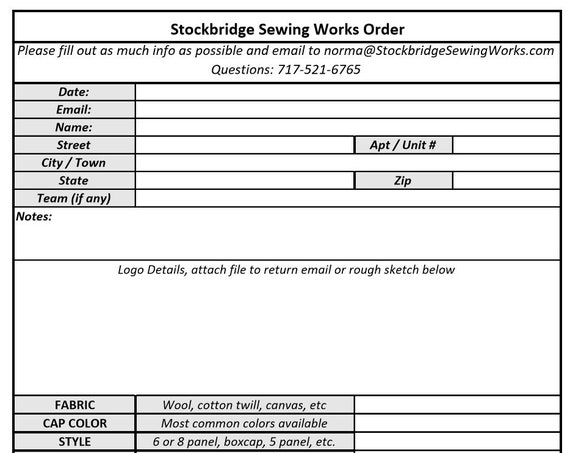 FREE TO PRINT Order Form for custom designed caps. Please read instruction below.