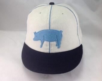 Hog-n-Hominy Vintage Base Ball team cap. White wool cap and navy 2