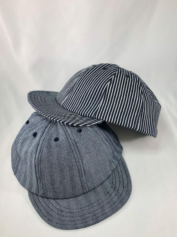 Herringbone or hickory stripe denim eight panel caps. Short visor. Absolutely any size.